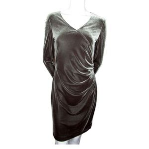 JS Collections Grey Velour Dress Size 6